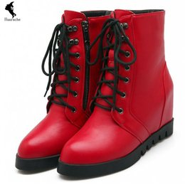 Wholesale Shoes Women Boots European PU Career Solid Gladiator Heighten Boot Leather Casual Lacing Strap Mid Heel Black Red Stores Heightened Autumn