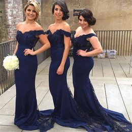Navy Blue Bridesmaid Dresses Off Shoulder Lace Beaded Chiffon Mermaid Sash Bodice Wedding Party Gowns With Sweep Train