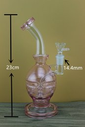 High quality pink Glass Bongs Bent Type Glass Water Pipes Fab Egg Smoking Pipe Recycler Oil Rigs Bong free shipping