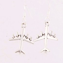 Wholesale 2016 HOT x21 mm Antique Silver Airplane Jet Plane Earrings Silver Fish Ear Hook Chandelier E1626