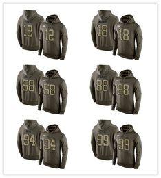 Wholesale Men s Broncos Von Miller Demaryius Thomas Olive Green Pullover Hoodies Sweatshirt Winter Outdoor Sportswear Warm hoodie
