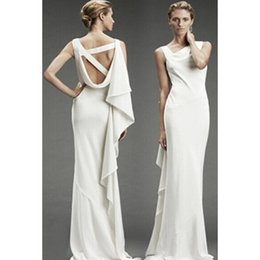Wholesale Sexy White Backless Mermaid Dress Asymmetric Design Sleeveless Bodycon Bandage Dresses For Women Ladies Evening Party Dresses