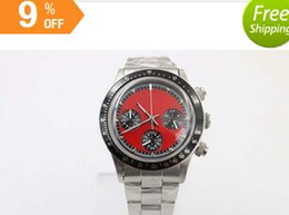 Wholesale 2016new Men s New Arrivals old brand quartz chronograph watch red face several black bezel and full stainless steel frame