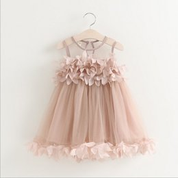 Wholesale 2016 Children New Summer Style Baby Girls Fashion Korean Sleeveless Dress Sweet Flower Petal Dress Elegant Princess Dress Good for Party