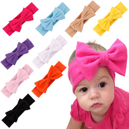 INS New Fashion Baby Solid Cotton Hair Bow Headband Toddler Handmade Stretch Headwraps With Bow Boutique Cute Hair Accessories 6M-3T