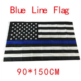 Wholesale 4 Types cm BlueLine USA Police Flags x5 Foot Thin Blue Line USA Flag Black White And Blue American Flag With Brass Grommets F737