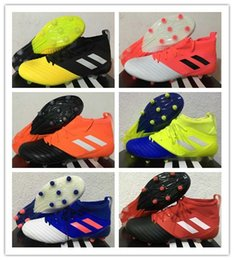 Wholesale 2016 New Ace Primeknit Leather soccer boots Spell color Football Shoes Men Soccer Cleats Boots Cheap Original Quality Football Shoes