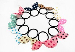 10 colors colorful girl kids women elastic rabbit ear hairband bracelets knot with rubber band free shipping