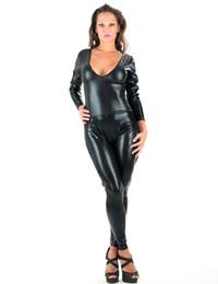 Sexy Black Vinyl Lingerie Jumpsuit New Design Faux Leather Deep V-Neck Long Bodysuit Back Lace-Up Catsuit Lingerie W7913