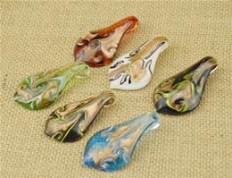 2016 Glass Pendants Necklace Gold Dust Murano Glass Jewelry Leaf Shaped Lampwork Glaze Pendant Fit DIY Craft Jewelry