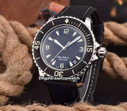 Wholesale HOT selling New Luxury Brand Fifty Fathoms Fathoms Metallic black Dial Automatic Mens Gents Best Wristwatches