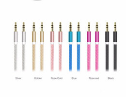 Wholesale Nylon braided audio cable metal head mm phone Universal AUX audio cable male to male connection cable