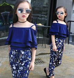 Wholesale 2016 Children Flower Outfits Pretty Top Pant Navy Color Kids Girl Summer Clothing Set Sizes Good Quality Fashion Set B4166