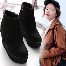 2015 new winter boots with thick bottom slope increased short tube tassel boots suede high-heeled boots waterproof
