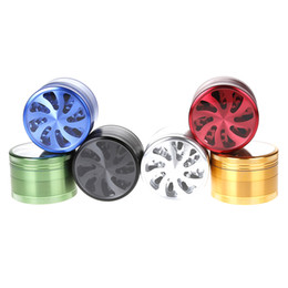 Wholesale 4 Layers Round Aluminium Alloy Herb metal Grinder Diameter MM MM LV550 LV630 clear top window Flower pattern