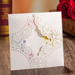 Colorful Personalized Custom Printing Laser Cut Hollow Wedding Invitations Flower 3 Fold Inner Cards Free Envelopes, Seals Wedding Supplies