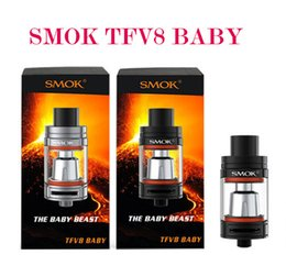 Wholesale Original Smok TFV8 Baby Tank ml Top Refilling Micro TFV8 Atomizer The Baby Beast SubOhm TFV8 Baby Tank Fit Xcube Ultra w Mod