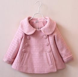 Wholesale 2016 baby fashion autumn winter coat double breasted doll collar woolen coat years girls short style windbreaker jacket D3