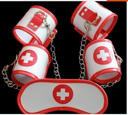 Female Sex Bondage PU Leather White Nurse Blindfold + Wrist + Ankle Cuffs Set Adult Fatacy Fetish Slave Cosplay Game Toy
