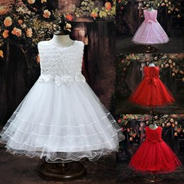Wholesale Cute Kids Christmas Photos - 2017 In Stock Cute Tulle Flower Girls Dresses With Handmade Flower Toddler Kids Vestidos Wedding Party Clothes 5 Color Free Shippins MC0281