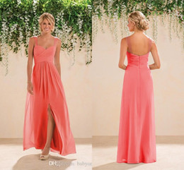 Coral Hot Sale Split Side Bridesmaid Dresses 2018 Spaghetti A Line Chiffon Beach Backless Jasmine Sexy New Maid Of Honor Party Prom Dress