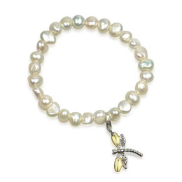 Wholesale 2016 Trending Products Irregular Freshwater Pearl Bracelet with Dragonfly Charm Natural Pearls Bracelet with Tassel Fashion china