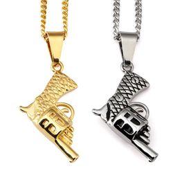 Wholesale 2016 Men Women Revolver Pendant Necklace American Style Chain Fashion Titanium Steel Men s Machine Gun Pistol Hip Hop Jewelry