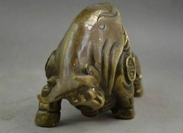 China Copper Carve Whole Body Wealth Lifelike zodiac ox Statue