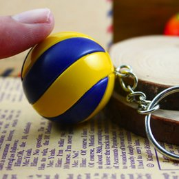 Wholesale Leisure accessories beach volleyball key chain charm volleyball picture print round glass alloy keychain ball fans gift