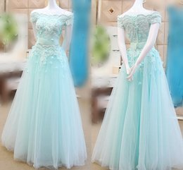 2017 Mint Green Prom Dresses Cap Sleeve Lace Applique A Line Evening Gowns Lace Up Organza Floor Length Formal Party Pageant Dresses