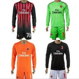 Wholesale 16 AC Soccer Uniforms Jersey Milan Soccer Jerseys Long Sleeve ACM Shirts Sets Bacca Montolivo Niang Home Goalkeeper Football Kits