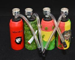 Wholesale Acrylic rasta reggae design water pipe hookah Shisha Hookah Water Pipe bongs leaf charm Set vapor VS Glass Bong Metal Pipe best