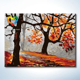 Wholesale Canvas Paint Autumn - Autumn Leaf Wall Art DIY Painting Baby Toys 30x40cm Coloring Canvas Oil Painting Drawing Wall Art for Lover Gift with SGS PONY CNAS