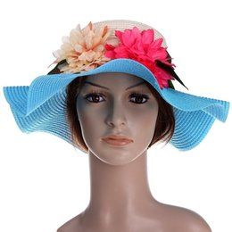Wholesale Summer Straw Flower Accent Wide Brim Floppy Hat For Women Colors Available