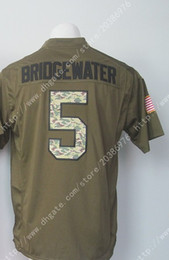 Wholesale New NIK Elite Drop Ship Vikings Teddy Bridgewater Salute To Service Men s Army Green Stitched Embroidery Logos America Football Jersey