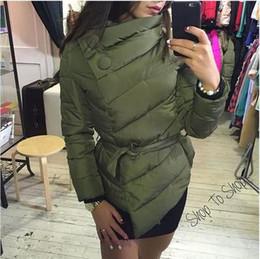 Wholesale 2016 Winter Down Coat Jacket Women Irrgeular High Collar With Belt Parkas For Women Winter Colors Jackets Warm Outerwear Coats FS0721