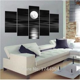 Wholesale High Quality Block Seascape Moon Oil Painting On Canvas Sets Wall Art Picture For Living Room Home Decoration Modern Sale