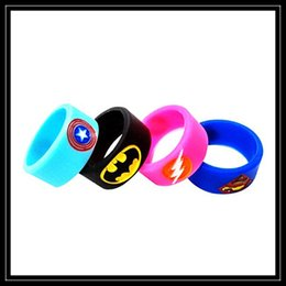 Wholesale Superman Batman Captain America Flash Silicone Vape Band Engraved Logo Silicon Beauty Decorative Ring For RTA RDA Vapor Mechanical Mods