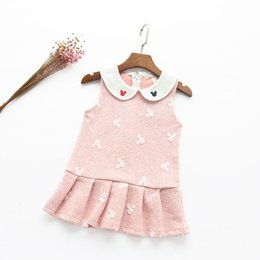 Wholesale Autumn Girls Mickey Dress sleeveless bottom Doll collar Cute pleat skirt dress girl clothing Sweet gifts Korea pink yellow years