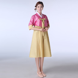 New 2016 Korean National Costume Short Sleeve Lady Court Minority Clothing Korean Traditional Hanbok Dress