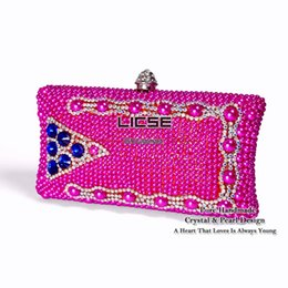 Wholesale Crystal Rose Evening Handbag - [LICSE] Spike Luxury Manual Rose Pearl Clutch Women Handbag Evening Bags 2015 New Fashion Brand Bag Crystal Wedding Party Purse