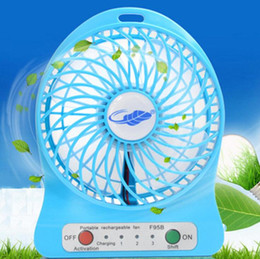 Wholesale Mini Protable Fan Multifunctional USB Rechargerable Kids Table Fan LED Light Battery Adjustable Speed F95B Color Free DHL