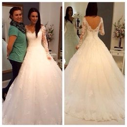New Arrival Cheap Lace Long Sleeve Wedding Dress White Ivory A Line Open Back Bridal Gown Custom Size 2 4 6 8 10 12 14 16 18 20 22 24 26 28