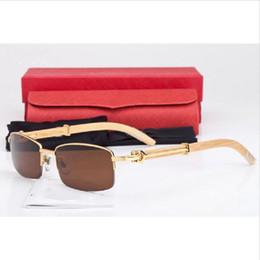 Wholesale Fashion Brand Designer Mens Wood Sunglasses High Quality Rectangle Lens Plain Mirror Glasses Silver Gold Buffalo Wood Frame Sunglasses