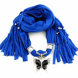 Newest Cheap Fashion Women Scarf Direct Factory Jewelry Scarves Women Crystal Latest Butterfly Scarves Necklace From China