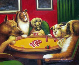 Wholesale Dogs Playing Poker Cards Pure Hand Painted Animal Art Oil Painting On Canvas any customized size accepted John
