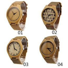 Wholesale 4 styles Classic Bamboo Wooden Watch japanese miyota movement wristwatches genuine leather bamboo wood watches for men women gift box