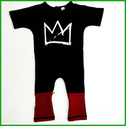 newest fashion long baby boys rompers long sleeve o-neck pocket crown printed long red pants toddler infant children boys girls baby rompers