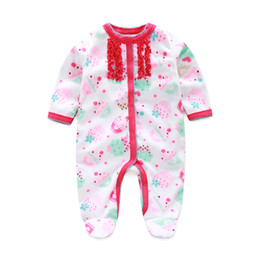 Cake Baby Girls Rompers Pajamas Fashion Newborn Footcover Long Romper Baby Clothes Outfits Body Warmer Coral Fleece Baby Clothes