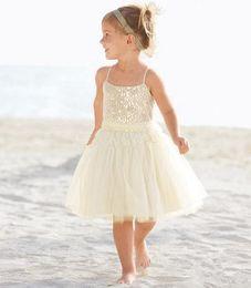 Wholesale Summer Beach Flower Girl Dresses A Line Spaghetti Tea Length White Girl Formal Dresses For Beach Themed Wedding Events Formal Party